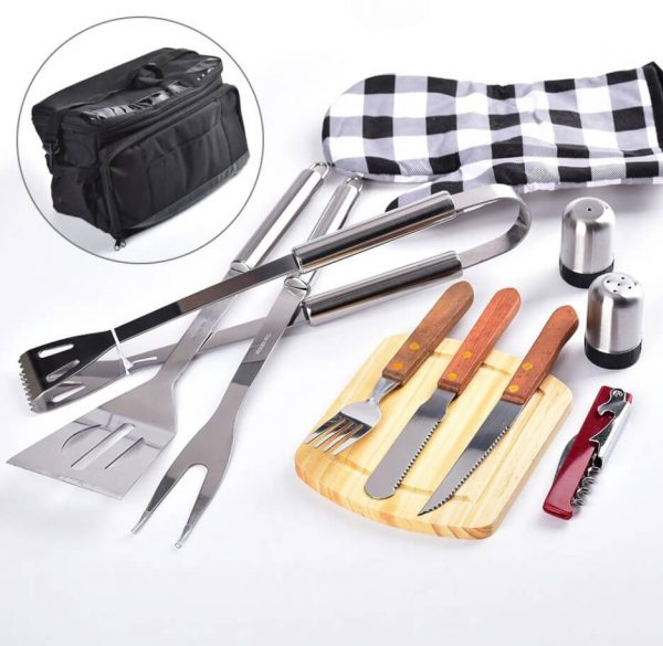 12 pcs BBQ utensil Set Cooler Bag