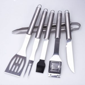 6pcs stainless steel grill tools set with case
