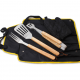 Outdoor 4 piece wood handle bbq grill apron gift set manufacturer