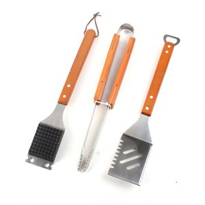 3 piece wooden handle nice bbq grill tool accessories set